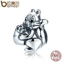 BAMOER Genuine 925 Sterling Silver Naughty Squirrel Pine Nut Animal Charm Beads Fit Women Charm Bracelet