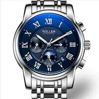 Крутые мужские спортивные дизайнерские Мультифункциональные механические часы с автоматическим подзаводом календарь часы рабочие 3 глаза