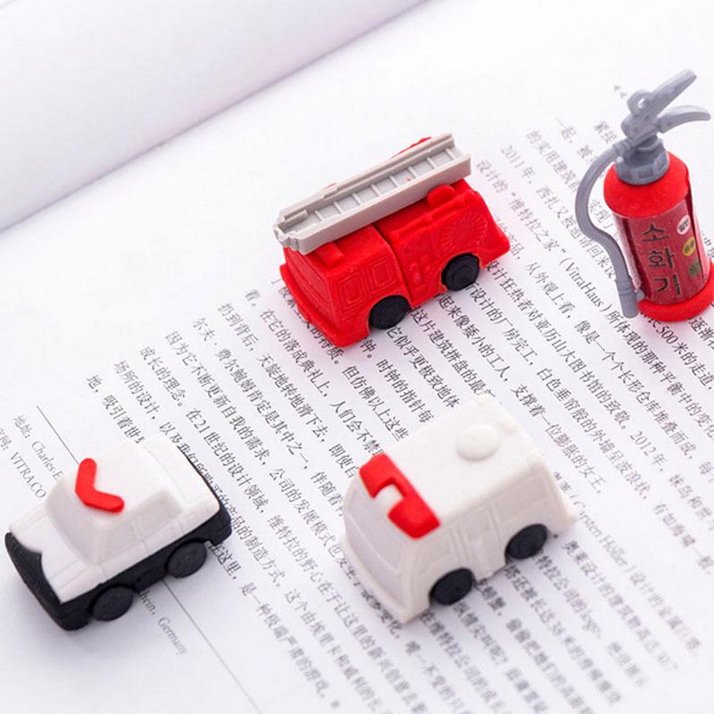 4pcs/lot Fire Truck Fire Extinguisher Set Eraser Stationery School Rubber Eraser  Supplies Learning Office Supplies