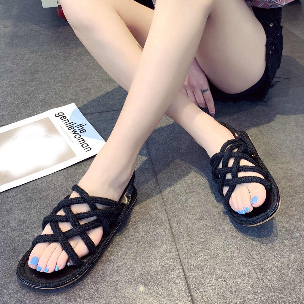 Roman Shoes Sandals Open-Toe Flat-Sole Personality Casual Mujer Lace-Up Soft Hemp
