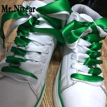 Mr.Niscar 1 Pair Fashion Colorful Silk Ribbon Shoelace Women Flat Shoelaces Sneaker Sport Shoes Fantastic Shoe Laces