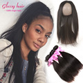 Ali pearl Straight Hair 360 Lace Frontal closure With Bundles Straight Brazilian Virgin Hair Full Lace 22*4*2  Straight Hair