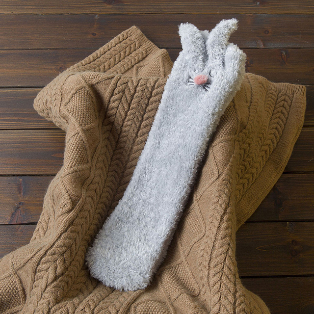 Cute Knitted Women and Men Socks Beautiful Hand Made Casual Home Wool Gift Rabbit Bunny Animal Christmas Socks Ethnic Scandinavian Ornament