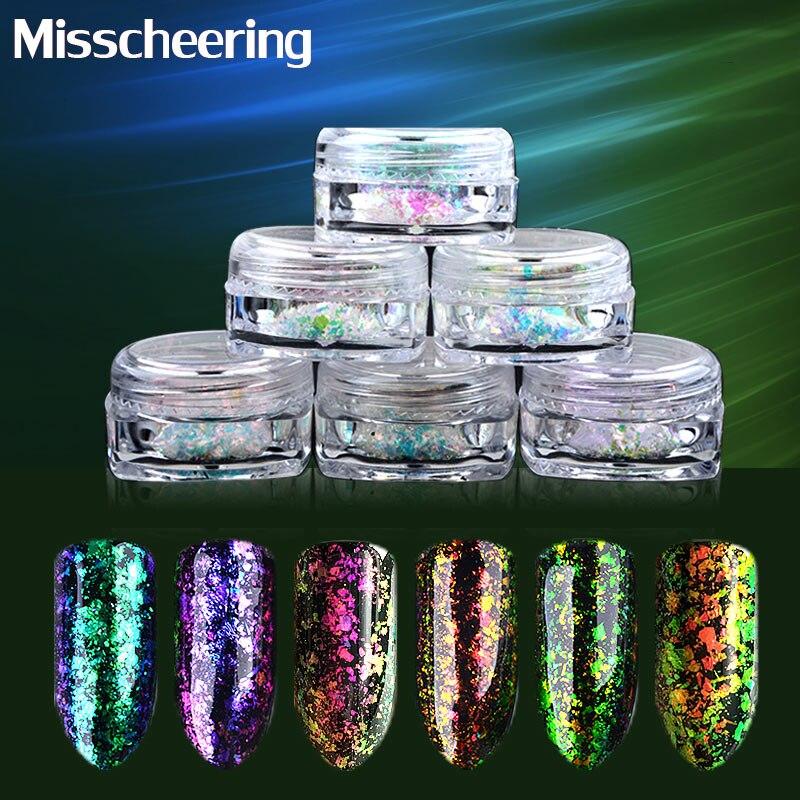 6pcs / set transparante vlok poeder kameleon nail art glitter spiegel - Nagel kunst