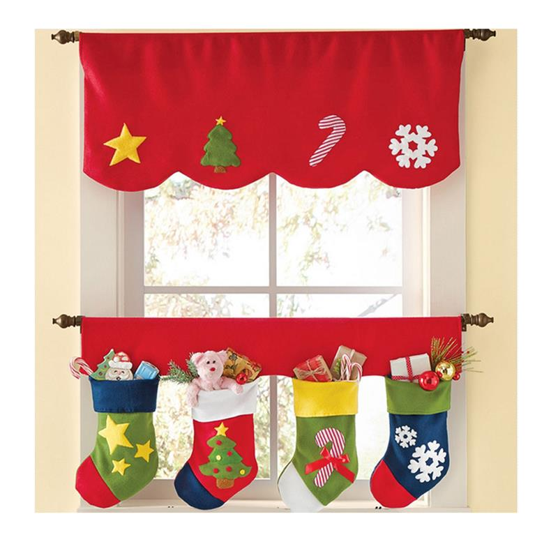 Coxeer 2 STÜCKE Set Weihnachten Dekorative Fenster Vorhang Volant ...
