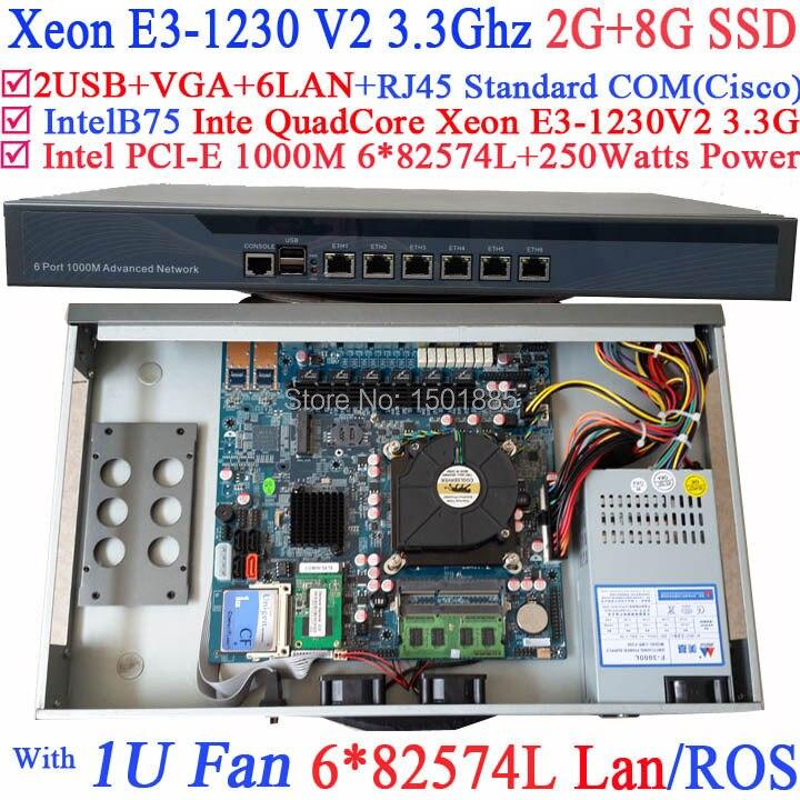 1U Pare-Feu Routeur Quad Core Xeon E3-1230 V2 3.3 Ghz avec 6*1000 M 82574L Cartes Réseau Gigabit 2 * intel i350 SFP 2G RAM 8G SSD