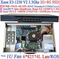 1u брандмауэр маршрутизатор 4 ядра Xeon e3 1230 V2 3.3 ГГц с 6*1000 м 82574l Gigabit NIC 2 * intel i350 SFP 2 г Оперативная память 8 г SSD