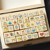 2017 New Free Shipping Creative Cute Cartoon Cat Small Wooden Box Into The Animals Stamp Hand