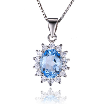 JewelryPalace 925 Sterling Silver Blue Topaz Pendant