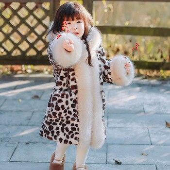 Luxury Baby Girl Fur Coat Winter Children Outerwear Big Fur Hooded Warm Long Parkas for Little Girl Kids Jacket 2 3 4 5 6 8 year
