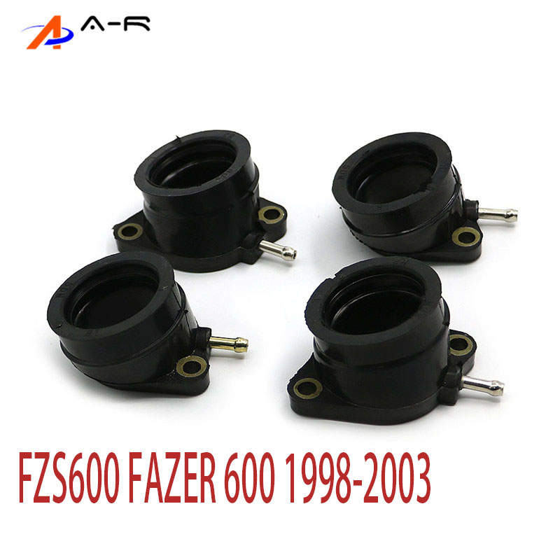 4 Piece Motorcycle Carburetor Carburateur Intake Manifold Joint Boot 5DM-13586-01 For <font><b>Yamaha</b></font> FZS600 <font><b>FAZER</b></font> FZS <font><b>600</b></font> 1998 - <font><b>2003</b></font> image