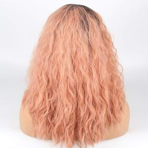 Image 5 - Marquesha Curly Ombre Candy Pink Synthetic Lace Front Wig Heat Resistant Fiber Replacement Pink Curly Bob Cut Wigs For Women