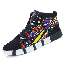 New High Tops Men Casual Shoes Boards For Adults Printed Hightop Sport Mens Shoes Luxury Brand Nubuck Leather