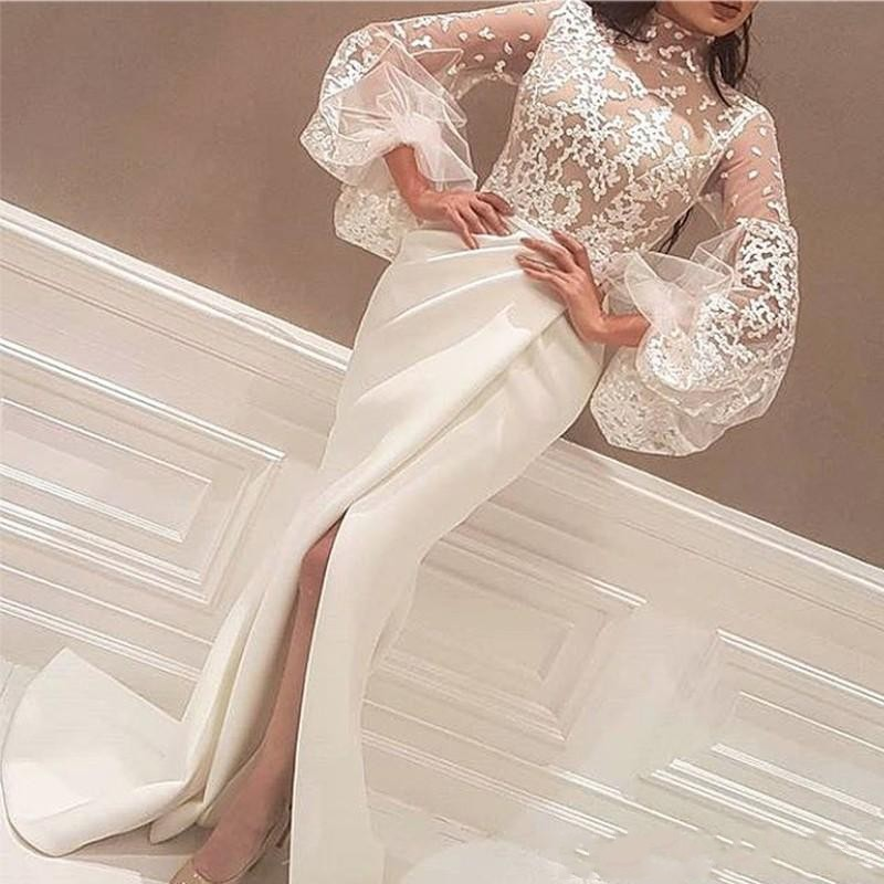 Newest High Neck White Arabic Evening Dresses Floor Length Lace Appliques Long Big Sleeve Mermaid Side Slit Prom Gowns JQ169
