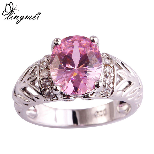 lingmei $0.99 Big Promotion Wholesale Popular Pink & White CZ Silver Color Ring