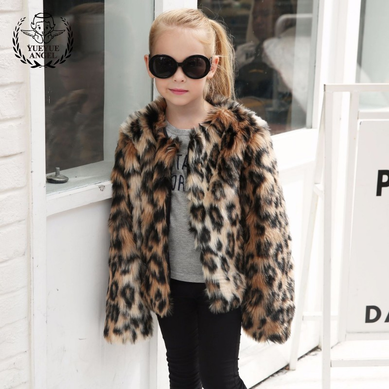 Hot Winter Long Sleeved Childrens Clothing Girl Leopard Fur Coat For Girl Faux Fur Coat Girl 2018 Clothes For Girls 8 Years Old