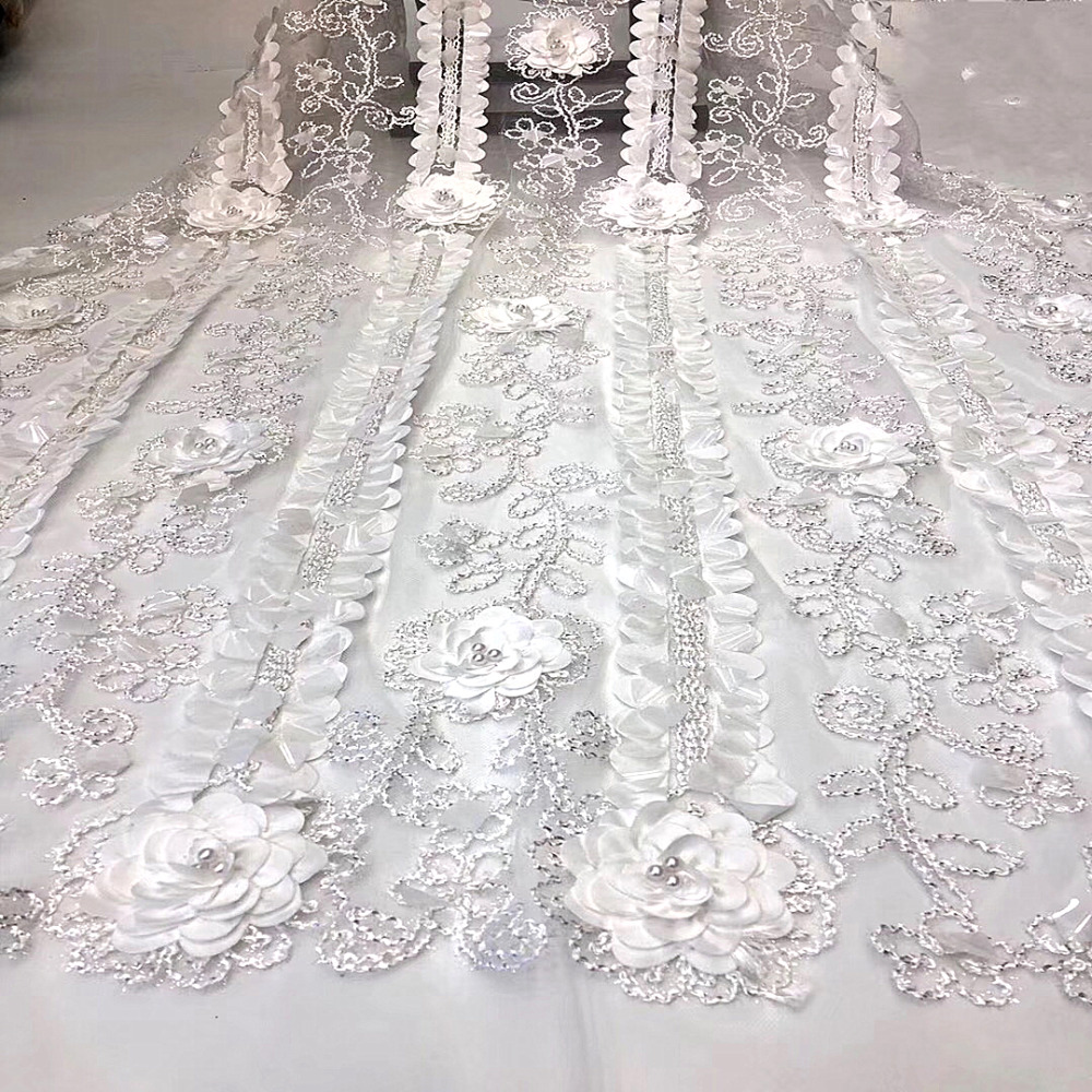 NEW White African Tulle Lace Fabric 2019 High Quality Nigerian French Swiss voile With Sequins Mesh