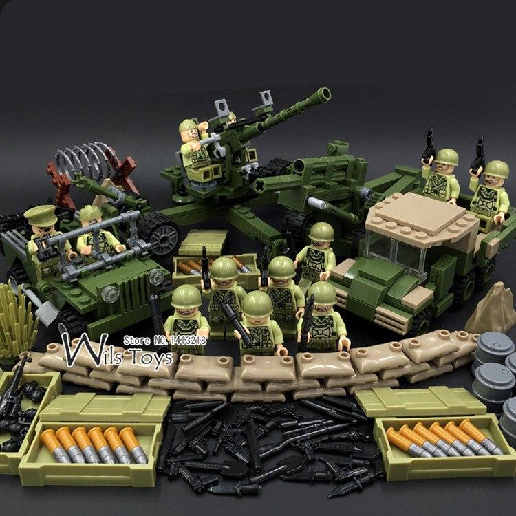 4 en 1 US Army Militaire Guerre Mondiale 2 SWAT Soldat Marine joints Équipe Arme Pistolet Building Blocks Briques Chiffres Garçon Jouet Cadeau Enfants