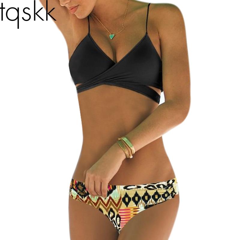 TQSKK 2017 Sexy Criss Cross Bikini Brazilian Bandage Swimsuit Women Push Up Swimwear Bikini Set Wrap Top Bathing Suits Biquini tqskk 2017 new high waist cross brazilian bikinis women swimsuit swimwear fall floral cross criss bikini set halter bathing suit