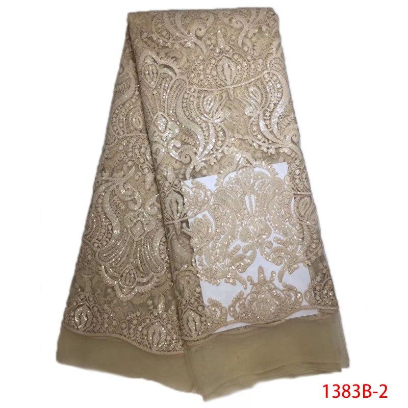Color Sequin Lace Fabric Champagne Gold Trim Tulle Lace Fabric 2018 Latest African Lace Fabric Wholesale