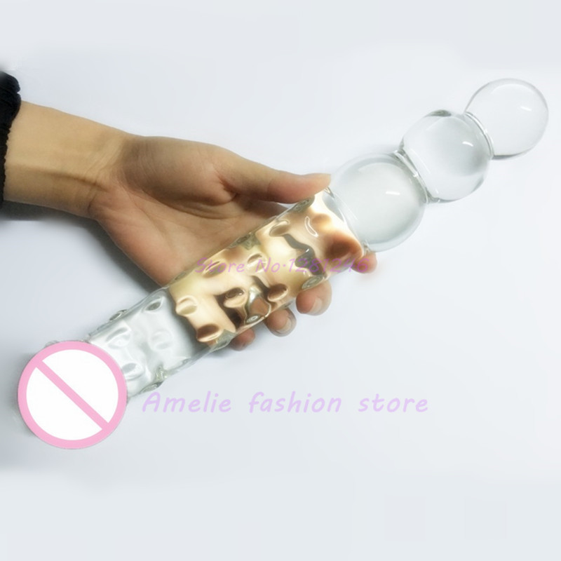 Big Glass Dildo Crystal Penis Double Ended Headed Adult Large Anal Beads Plug Ass Balls Sex toys for women men gay Lesbian lesbian woman double ended dildo realistic penis big dick anal and vagina double dong penetration long dildos for women sex toys