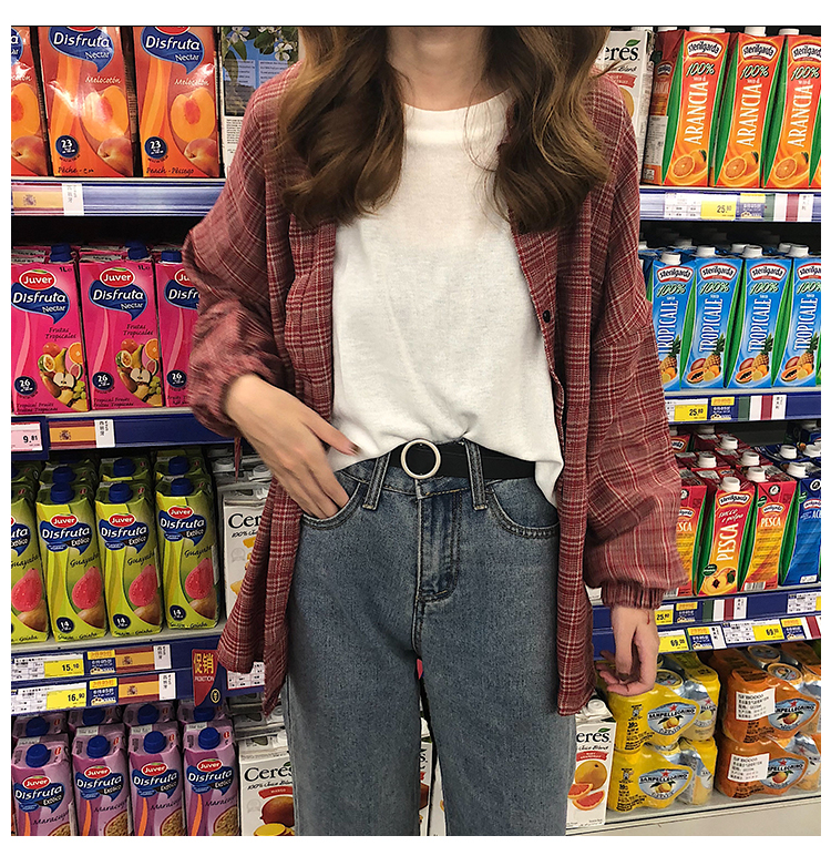 2019 New Woman Vent Vintage Plaid Shirt Single Breasted Turn down Collar Cotton Long Sleeve Button Feminina Sales T8D512Z