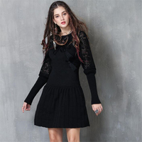Fashion Autumn Winter Women Vintage Hollow Sweater Dress Women Clothes Ladies Lantern Sleeve Knitted Slim Pleated