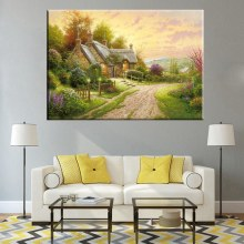 Gifts Cosy Beautiful Countryside Thomas Kinkade Pastoral Cottage Landscape Reproduction Oil Painting Print on Canvas Frameless