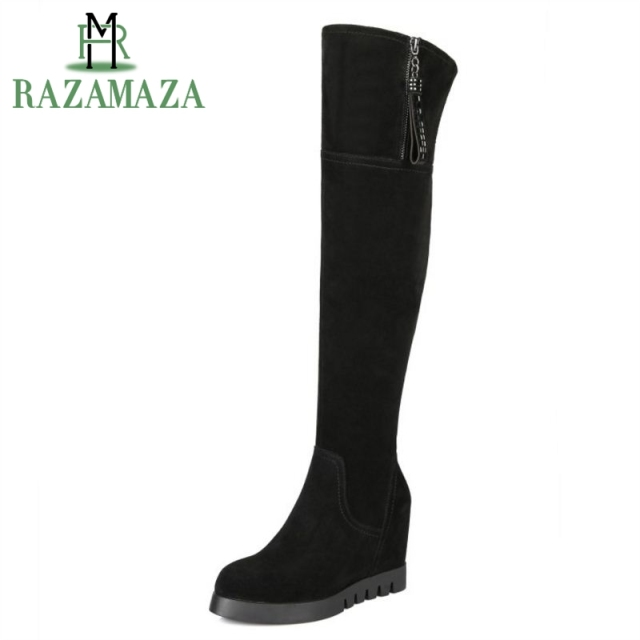 396acf03fc5b RAZAMAZA Women Genuine Leather Wedges Boots Zipper Over Knee Boots Inside  Heel Winter Shoes Warm Botas Women Footwear Size 34-40