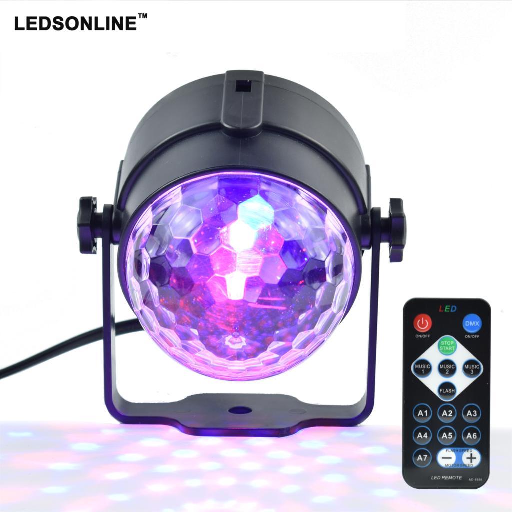 Mini RGB 3 W Crystal Magic Ball Led lámpara de escenario DJ KTV Disco láser luces de fiesta sonido IR Control remoto proyector de Navidad