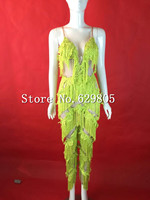 Белый зеленый кружева кисточкой комбинезон наряд Одежда для танцев комбинезон для вечеринки костюм Клубная одежда для выступлений певица