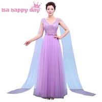Faironly sukienka piętro długość elegancki v neck kobiet słodki suknie druhna brides maid tull 2018 dla dziewcząt w liliowy H3767
