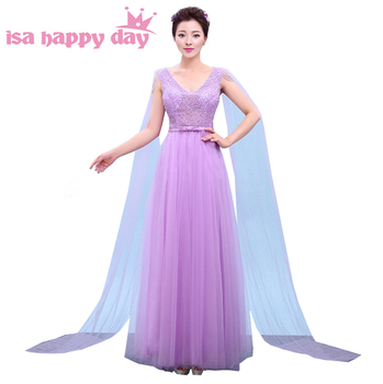 faironly dress floor length elegant v neck brides maid bridesmaid womens sweet dresses tull 2019 for girls in lilac H3767