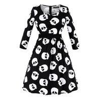Spring 2019 Gothic Plus Size Dresses Women Skull Print Fashion Black Vintage A Line Oversize 4XL Elegant Girl Casual Swing Dress