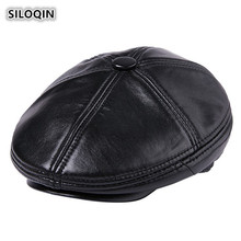SILOQIN Winter Genuine Leather Hat Mens Sheepskin Berets Plush Thicker Warm Male Hats Brand Dad For Men