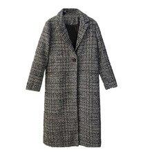 Autumn Winter Plaid Long Coat Women Woollen Overcoat Loose Outwear Female Trench Coats Plus Size