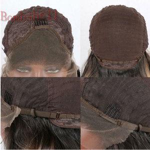 Image 4 - Bomba siyah düz saç sentetik dantel ön peruk doğal saç çizgisi ısıya dayanıklı iplik saç orta ayrılık kadınlar için peruk