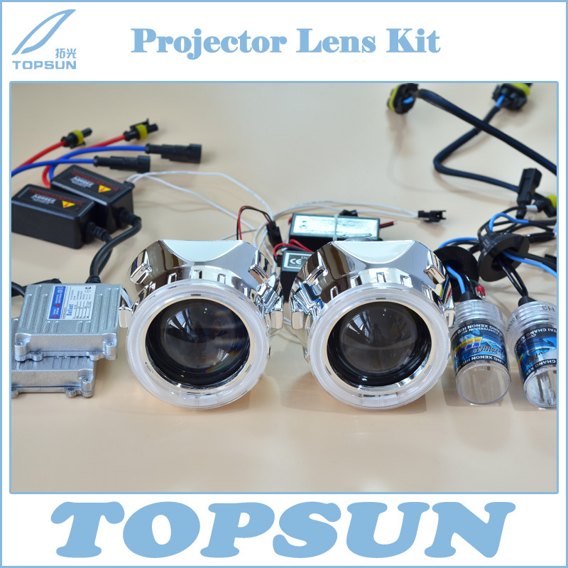 2.5 WST Projector Lens, Shroud, 35W H1 HID Xenon Bulb, TOPSUN Ballast, CCFL Angel Eyes 6 Colors, Car Light Kit Free Shipping