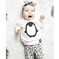 2017 New Autumn Baby Clothes Set Cotton Penguin Long Sleeve T-shirt Top+Pants Infant Baby Clothing 2 Pcs Comfortable Baby Outfit
