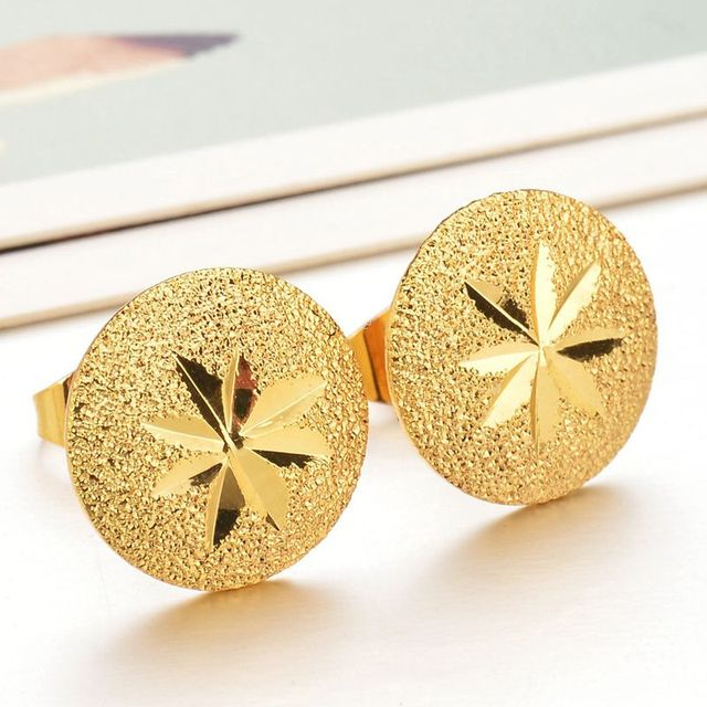Hiphop Gold Color Weed Leaf Stud Earrings Punk Stars Tree Muslim For Male Femme