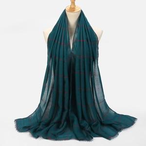 Image 4 - 10pcs Plaids Tartan Cotton Voile Muslim Hijab Scarf For Ladies Long Cross Stripes Double Color Islamic Hijabs Shawl Wrap Scarf