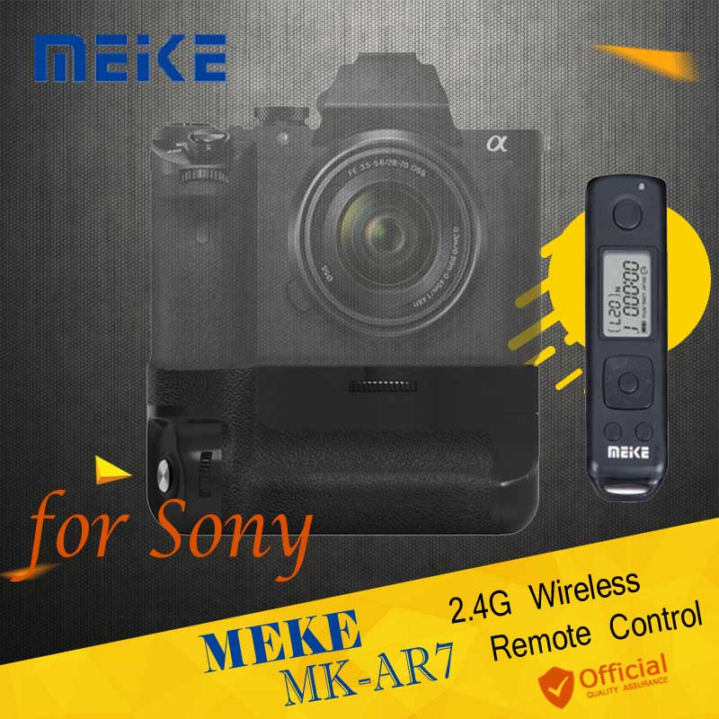 Meike MK-AR7 2.4G Wireless Remote Control System Vertical Battery Grip for Sony A7/A7R/A7S as VG-C1EM Camera Accessories neewer meike battery grip for sony a6300 camera built in 2 4ghz remote control work with 1 or 2 np fw50 battery