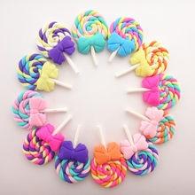 Cabochons de sucettes arc-en-ciel, en argile douce Kawaii, en résine, fait à la main, bricolage, nœud décoratif pour cheveux, 28x42MM, 10 pièces/lot, 19011104
