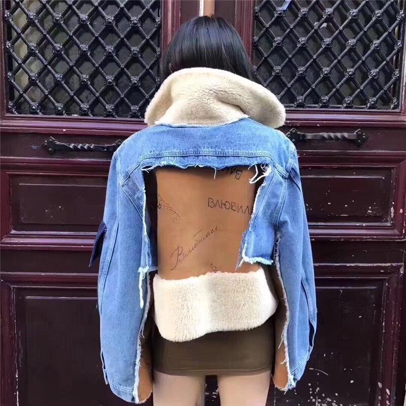 Donne Reale di Pecora Giacca di Pelliccia di Inverno Genuino Cappotto di pelle di Pecora Merino Naturale di Pelliccia di Pecora Giacca di Jeans Nuovi di Spessore Caldo Jean Pelliccia giacca