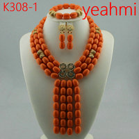 Fashion Jewelry Set African Coral Beads Exclusive Real Coral Pendant Bridal Necklace Set Copper Gold Accessory Free Ship K308 2