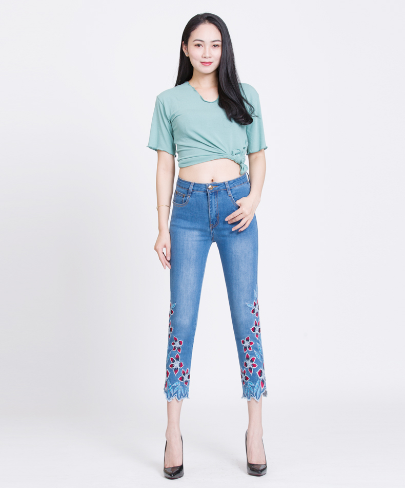 KSTUN FERZIGE Summer Jeans Women Embroidery High Waist Stretch Floral Push Up Skinny Slim Fit Pencils Calf-Length Pants Light Blue 36 13