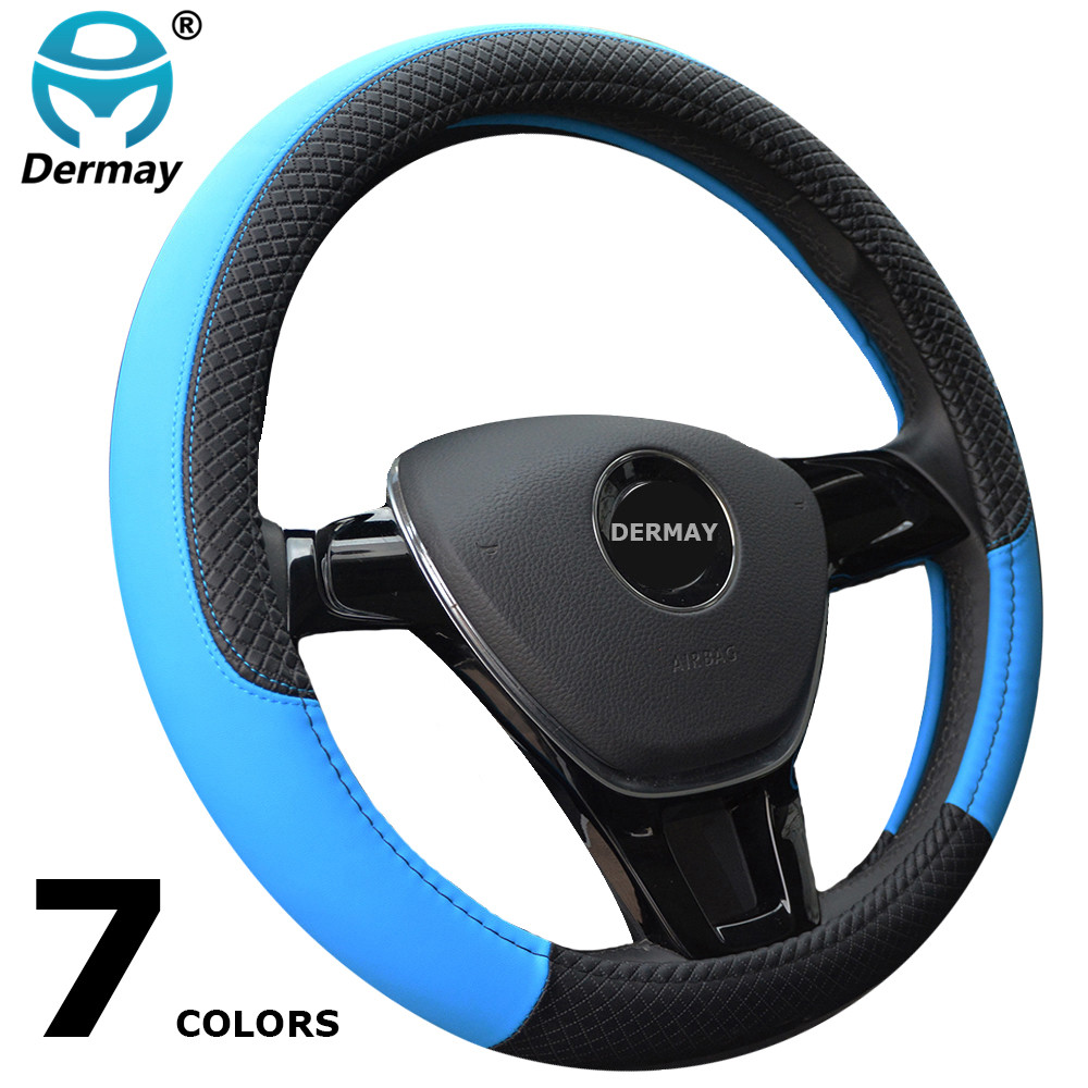 DERMAY New Arrival 7Colors Car Steering Wheel Cover Leather Size 38cm For VW Skoda Chevrolet Ford Nissan etc. 95% Cars