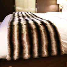 genuine  rabbit fur chinchilla rug 55*200cm luxury carpet for living room bedsider brown color