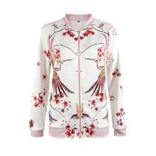 jacket women Casual Loose Print Animal Floral long sleeves summer autumn jacket Zippers Stand neck women's jackets coat stylish stand neck long sleeves floral print jacket for women