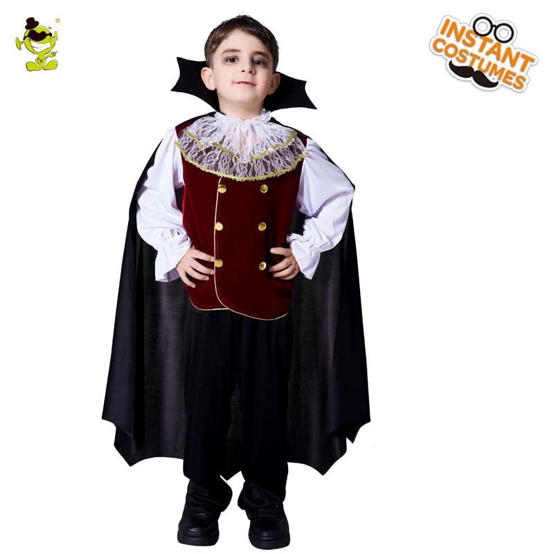 Дети Делюкс костюмы вампиров Хэллоуин Карнавал Party Благородный король и принц bloodsuker Косплей Костюм с накидкой для мальчиков